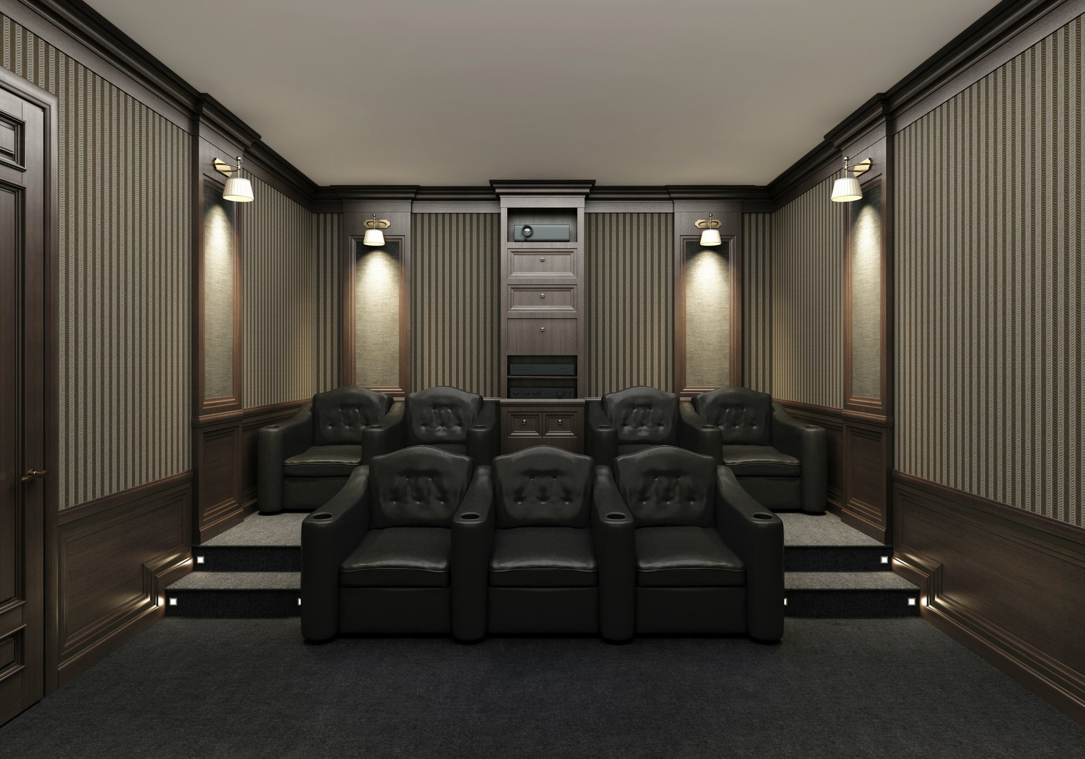 Interior Of Luxury Home Theater Whith Lounge Chairs You